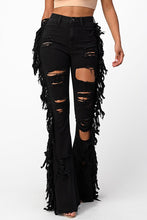 Load image into Gallery viewer, All Eyes On Me Black High Rise Distressed Fringe Jeans