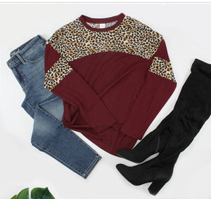 Maroon Leopard Stripe Long Sleeve Top