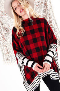 Buffalo Plaid Long Sleeve Poncho Top