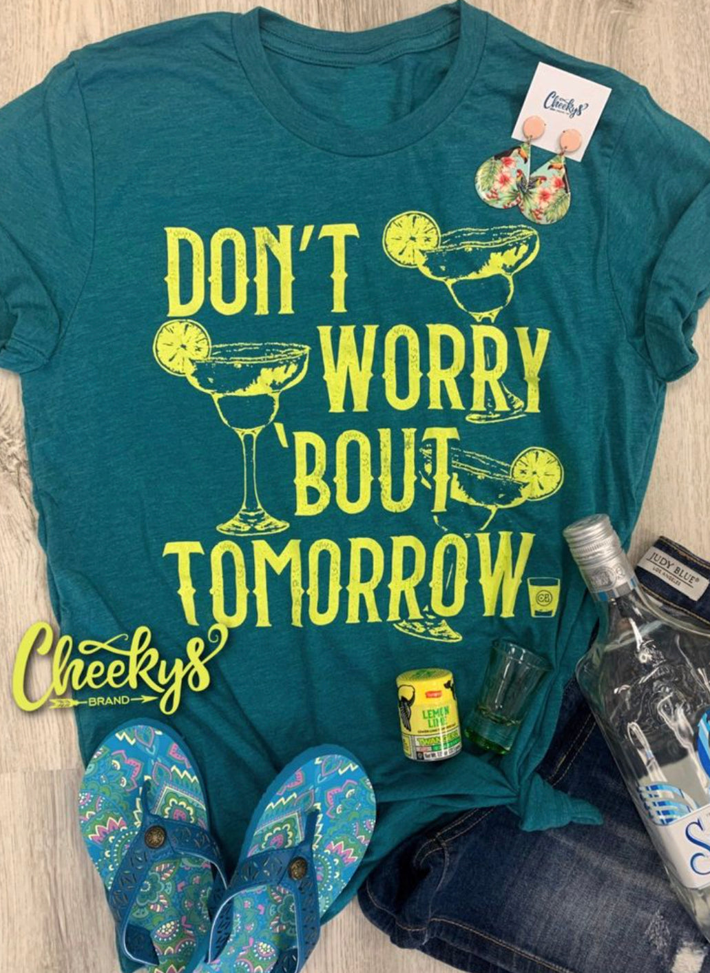Don't Worry About Tomorrow Teal Graphic T-Shirt