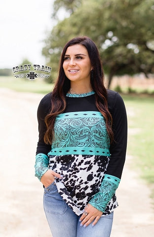 Turquoise Tooled Leather & Cowhide Print Longsleeve Top