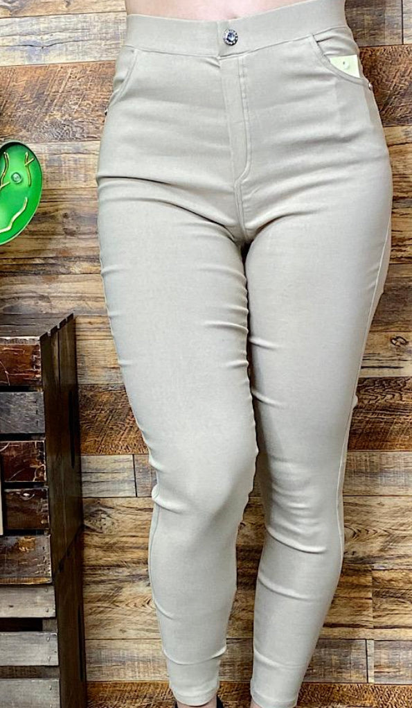 Beige Rhinestone Button Jeggings