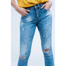 Load image into Gallery viewer, Mid Wash Distressed Skinny Blues Jeans