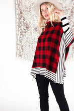 Load image into Gallery viewer, Buffalo Plaid Long Sleeve Poncho Top