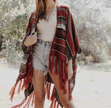Load image into Gallery viewer, Bohemian Red Serape Skull Poncho
