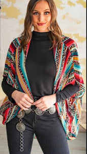 Serape and Leopard Chiffon Dolman Sleeve Wrap