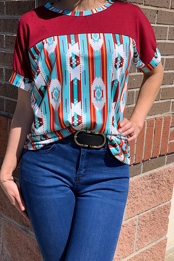 Red & Turquoise Aztec Print Short Sleeve Top