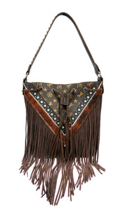 Montana West Signature Monogram Front Fringe Western Hobo Purse