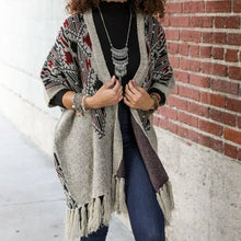 Load image into Gallery viewer, Aztec Argyle Knit Ruana Cardigan