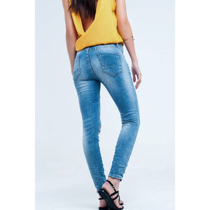 Mid Wash Distressed Skinny Blues Jeans