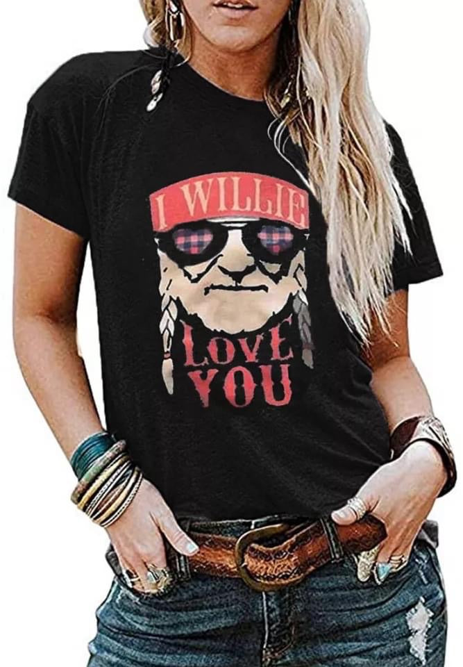 Black I Willie Love You Graphic T-Shirt