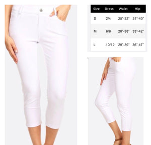 White Skinny Capri Jeggings