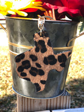 Load image into Gallery viewer, Texas Leopard Serape Sunflower Rhinestone Keychain with Tassel and Leopard Back