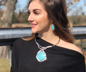 Silver Statement Necklace with Large Turquoise Stone and Matching Earrings