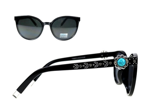 Montana West Cat Eye Collection Sunglasses with Turquoise Concho
