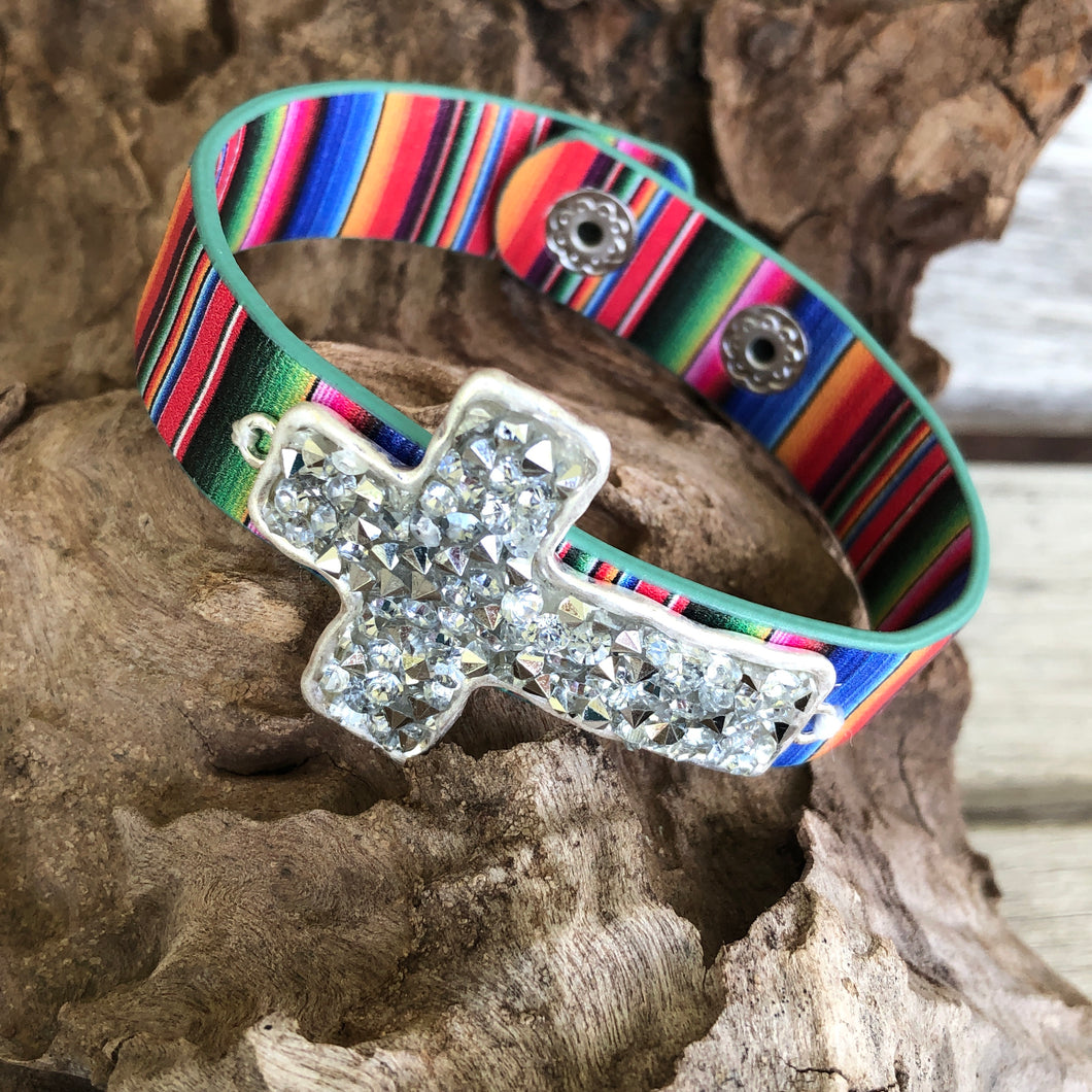 Silver Cross Serape Band Snap Bracelet
