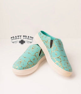 Sally Walker Slip On Turquoise Stone Sneakers