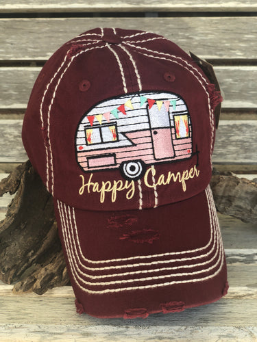 Distressed Wine Happy Camper Cap