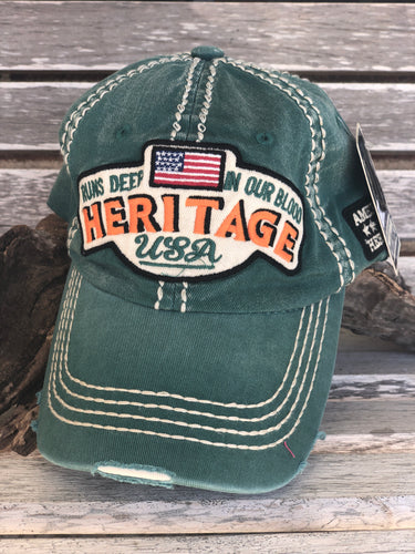 Distressed Sage Heritage USA Cap