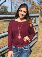 Load image into Gallery viewer, Maroon Long-Sleeve Off Shoulder T-Shirt