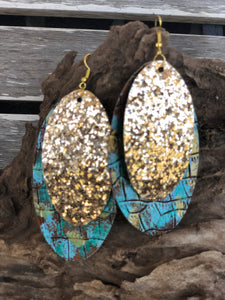 Multi Color & Gold Glitter Earrings