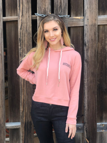 Dusty Pink Antisocial Slogan Pullover Hoodie