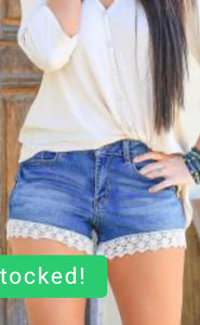 Vintage Wash Denim Shorts with Crochet Trim