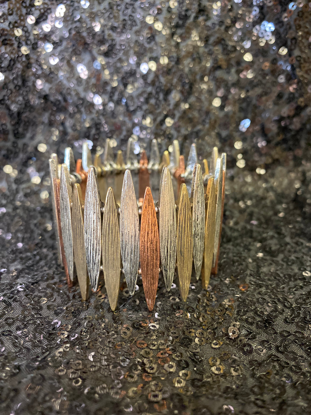 Copper Gold & Silver Stretch Bracelet