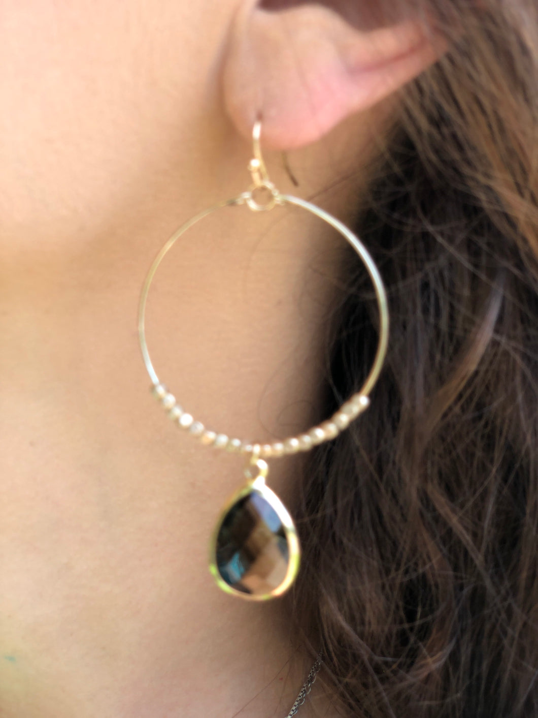 Gold Dangle Hoops w/ Colorado Stone Earrings