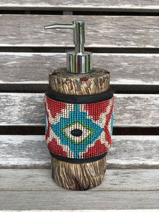 Ceramic Aztec Wooden Soap Dispenser