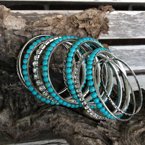 Silver & Turquoise 10 pc. Bangle Bracelets