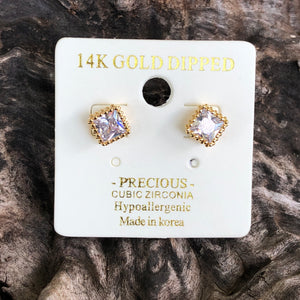 Gold Square Rhinestone Stud Earrings
