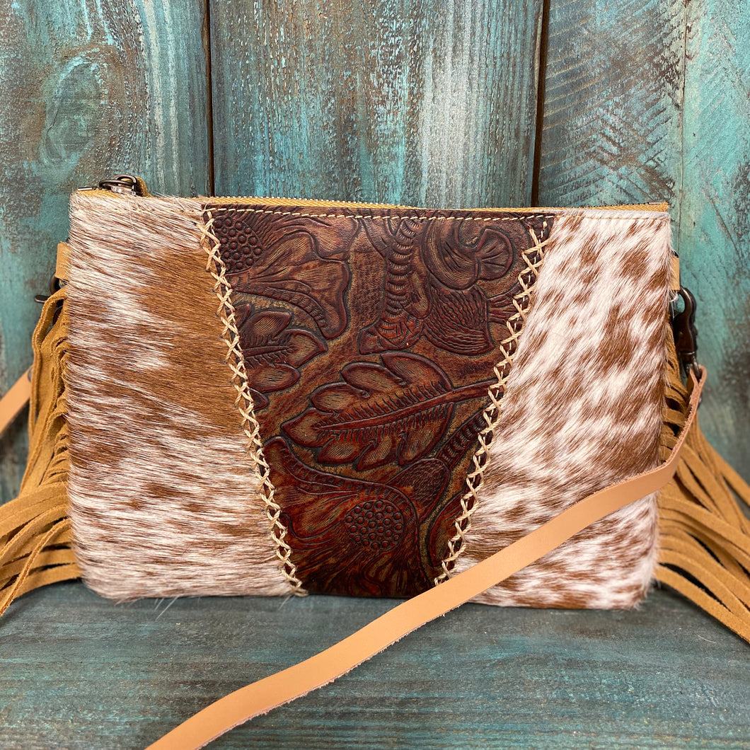 Light Brown Fringed Tooled Leather Crossbody Purse