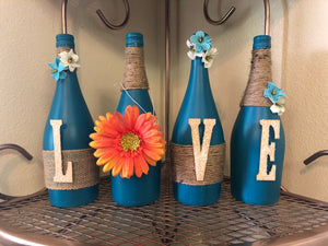 Teal LOVE Wine Bottle (4pc.) Decor