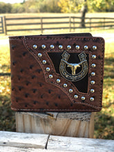 Load image into Gallery viewer, Men's Faux Ostrich Longhorn Horseshoe Wallet