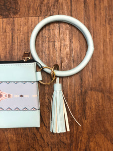 Turquoise Skull Tassel Wristlet and Wallet Keychain