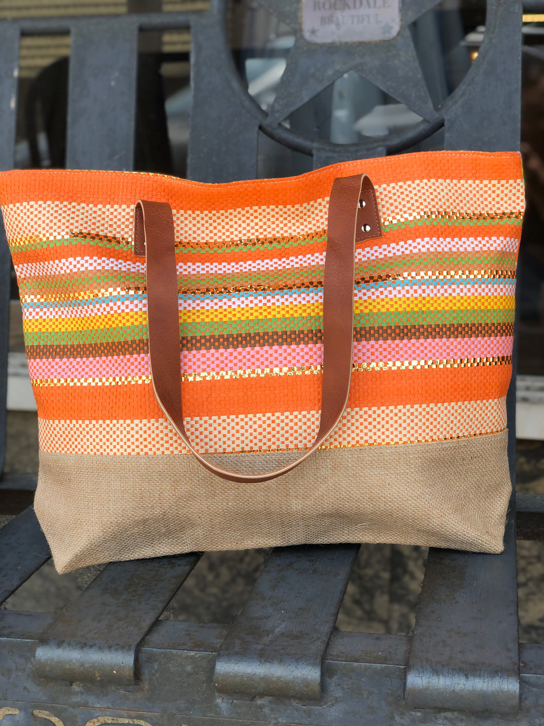 Tropical Stripe Beach Tote