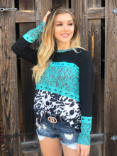 Load image into Gallery viewer, Turquoise Tooled Leather & Cowhide Print Longsleeve Top
