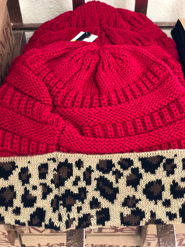 Red Knit Beanie with Leopard Trim