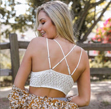 Load image into Gallery viewer, White Crochet Lace Longline Bralette
