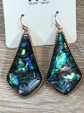 Load image into Gallery viewer, Abalone Long Teardrop Dangle Earrings