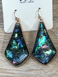 Abalone Long Teardrop Dangle Earrings