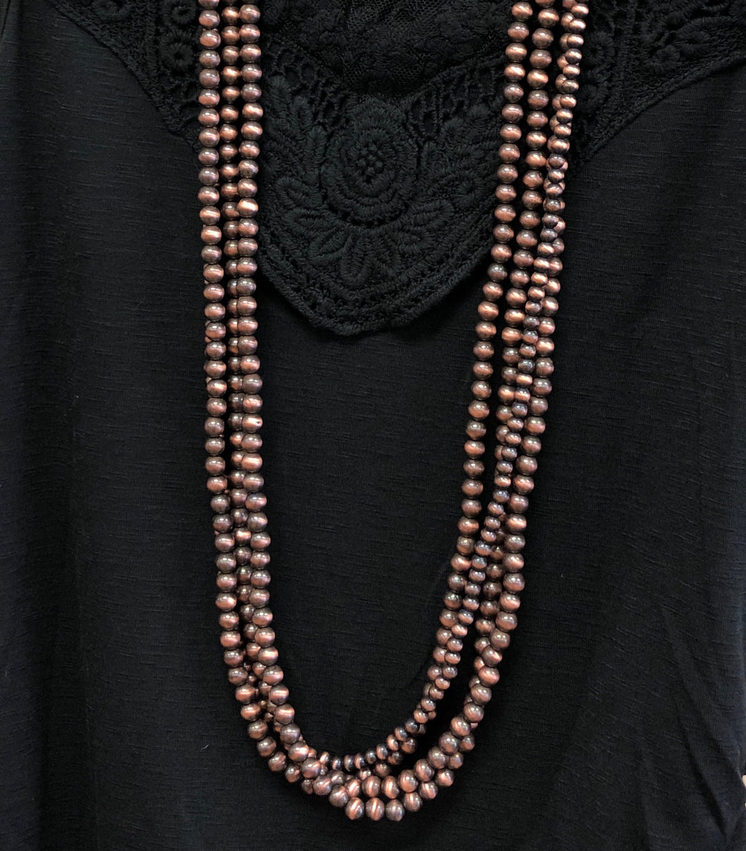 Long Bronze Navajo Pearl 3 Strand Necklace & Earring Set