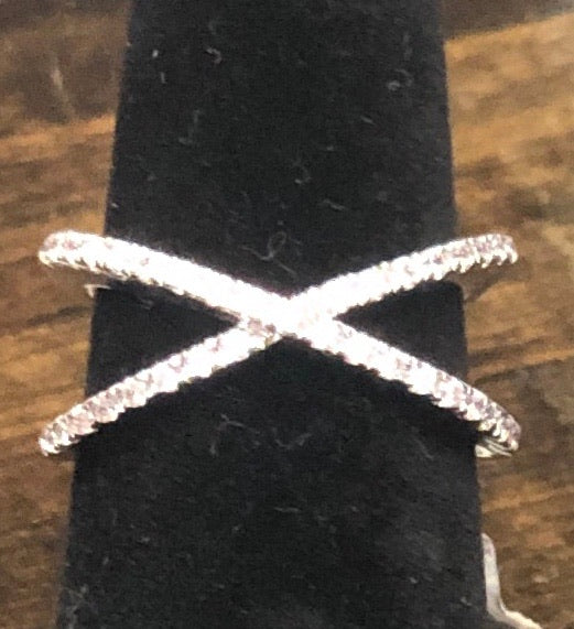 Silver Rhinestone Criss Cross Ring