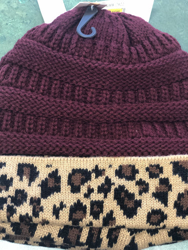 Maroon Knit Beanie with Leopard Trim