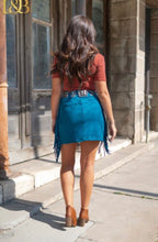 Load image into Gallery viewer, Teal Suede Side Fringe Mini Skirt