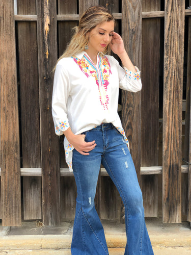 Ivory Embroidered Top with Collar