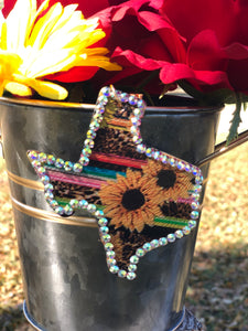 Texas Leopard Serape Sunflower Rhinestone Keychain with Tassel and Leopard Back