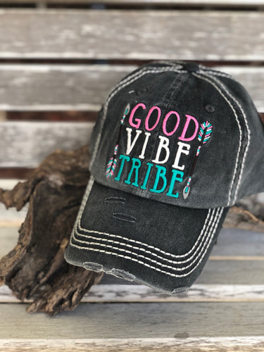 Distressed Black Good Vibe Tribe Cap