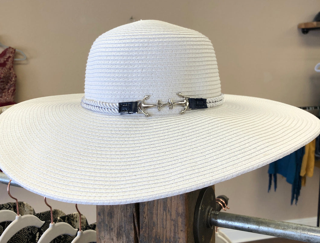 White & Navy Nautical Floppy Beach Hat